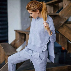 Autumn Tracksuit Long Sleeve Slit Solid Sweatshirts Casual Suit Women Clothing