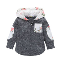 Autumn Winter Floral Baby Girls Hooded T-Shirts Kids Baby Girls Clothes Casual Long Sleeve T-shirts Tops for Girls 0-24M