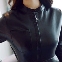 Autumn Winter Leather Dress Women Vestidos Sexy Slim Party Bodycon Dress