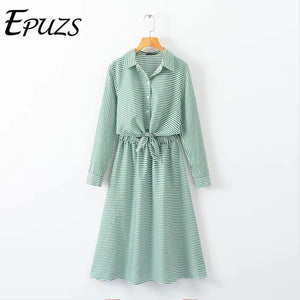 Autumn long sleeve Green Striped midi Dress women casual button office work shirt dress casual ladies dresses 2019 vestidos