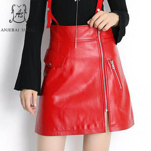Autumn winter women genuine sheepskin leather skirt short red black suspenders zipper