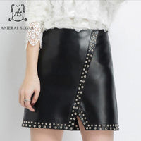 Autumn winter women genuine sheepskin leather skirt short sexy black High waist slit