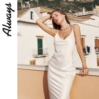 Awayss womans summer slip silk dress white satin dress elegant ladies work slit
