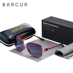 BARCUR New Shades Fashion Sun Glasses for Women Polarized Sunglasses Women Luxury Design oculos Ladies Trending Styles