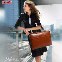 leather Women briefcase handbags ladies 14 inch laptop bag fashion