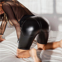 New PU Leather Shorts Women Sexy Push Up Heart Crop Leggins