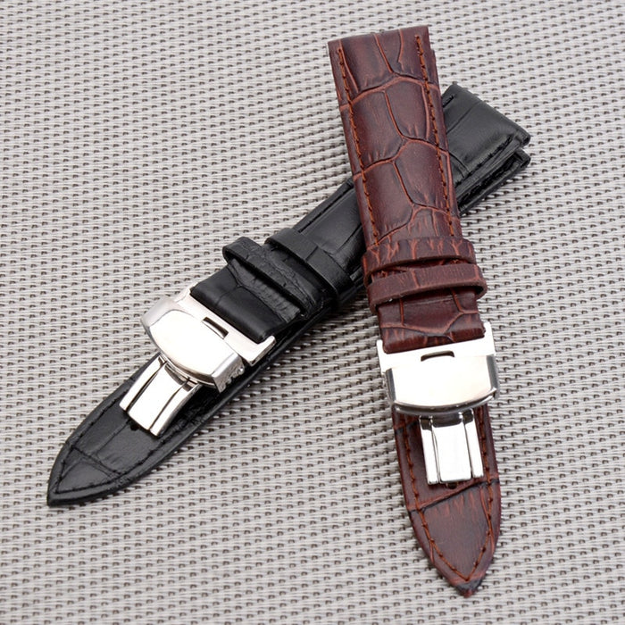 BUMVOR  Women Men Watch Band Strap Butterfly Pattern  Clasp Buckle Business Casua Genuine Leather Watchband 18 20 22 24 mm