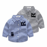 Baby Shirts Boy Casual Cat Kids Blouses Spring Children Cotton Long Sleeve Turn-Down Collar Strips Boys Clothes