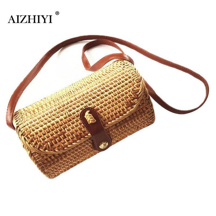 Bali Island Hand Woven Bag Round Bag buckle Rattan Straw Bags Satchel Wind Bohemia Beach Circle Bag Rattan Crossbody Handbags