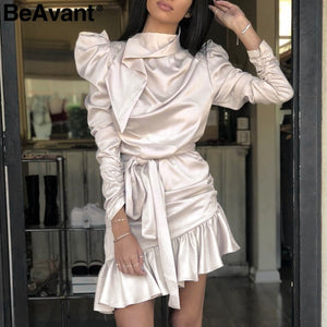 BeAvant Sexy ruched satin dress women Long sleeve asymmetrical ruffle sash short
