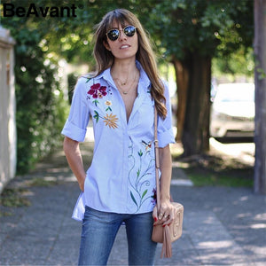 Spring casual striped blouse shirt women Floral embroidered blouse female tops