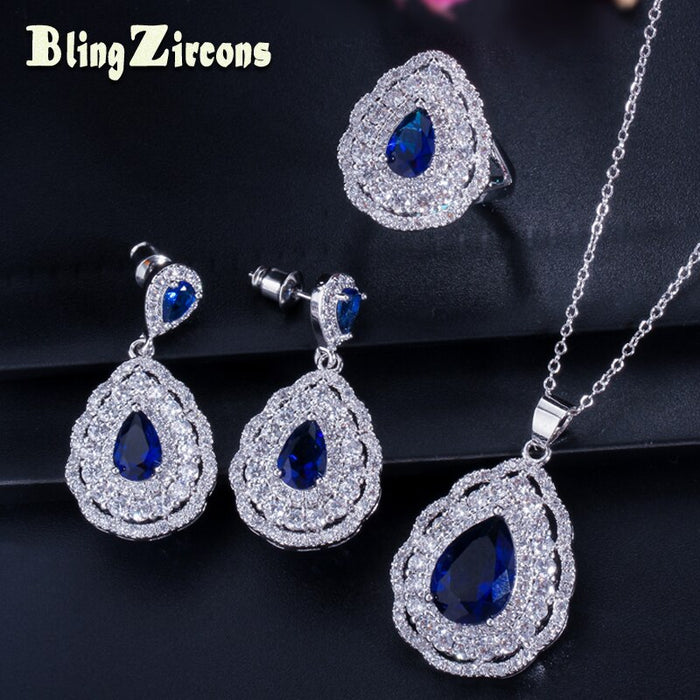 BeaQueen 3 Piece Paved Full CZ Crystal Women Silver 925 Big Earrings Jewelry Sets with Blue Water Drop Cubic Zirconia JS016