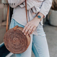 Beach Bag Straw Shoulder Bags Women Handbags Woven Rattan Sac A Main For Ladies Round Rattan Handbags Women Circle Straw Bag