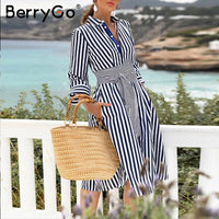 BerryGo Casual striped women office dress Autumn ladies work wear A-line shirts dress  Elegant quarter sleeve bow tied midi dres