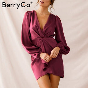 BerryGo Sexy v-neck satin dress women Elegant puff sleeve pleated female party