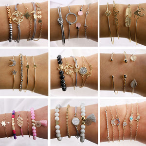 Best lady Ethnic Vintage Beads Bracelets Set For Women Bangle 18 Style Geometric Pendant Charm Bracelets Jewelry Valentine Gift