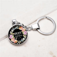 Bible Psalm Keychains Silver Key Holder Glass Pendant Colors Flower Christian Women Men Jewelry Konminry I Am With