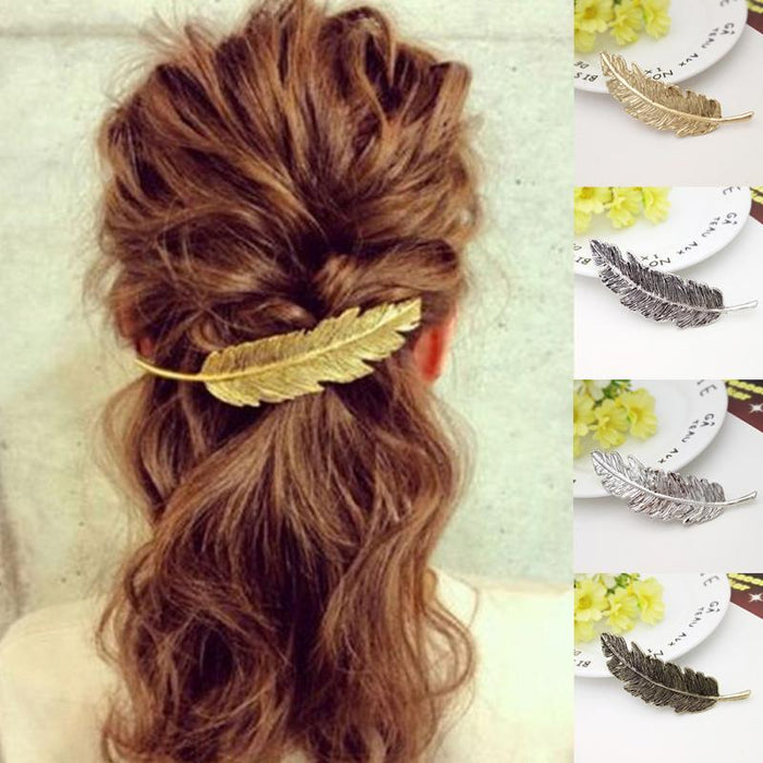 Big Feather Hair Grips Gold/ Silver Plated French Barrette Women Hairpin