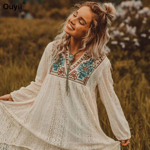 Outer Blouse Embroidered Beach Dress Casual Vacation Women's Blouse Swimsuit