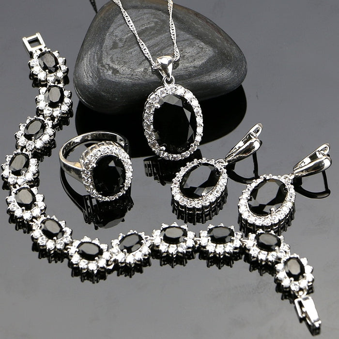 Black Cubic Zirconia Jewelery 925 Sterling Silver Jewelry Sets Jewelry Set For Women Earrings/Pendant/Necklace/Ring/Bracelet