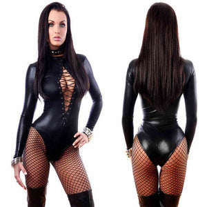 Leather Bodysuit Women Lace up Long Sleeve Bodycon Rompers Jumpsuits Playsuit Sexy Overalls for Women