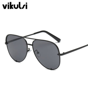 Black Gradient Sunglasses Silver Mirror Metal Sun Glasses Brand Designer Pilot