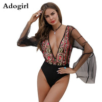 Black See Through Floar Embroidered Bodysuit Deep V-Neck Long Sleeve