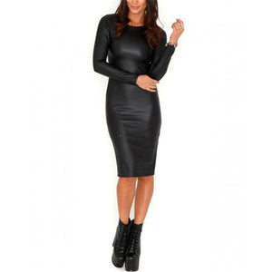 Black Package Hip Midi Imitation Leather Pencil Sexy Dress Large Size