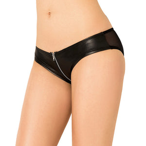 Black Pu Leather Zipper Sexy Briefs Women Plus Size Transparent Panties
