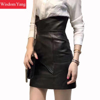 Black Real Sheep Skin Genuine Leather Skirt High Waisted Mini Skirts For Women