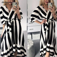 Black White Striped Dress Women 2019 Autumn Office Lady Work Dress Elegant Deep V-Neck A-Line Long Party Dress Vestido De Fiesta