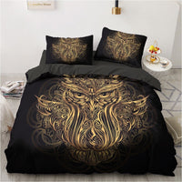 Bedding Sets 3D Duvet Quilt Cover Set Comforter Bed Linen Pillowcase, Black Gold Design Printed
