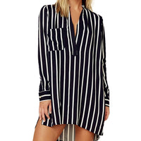 Blouse 2019 Women Fashion Striped V-Neck Long Sleeve Baggy Blouse Lady Casual Loose Tunic Tops Plus Size Shirts blusas mujer