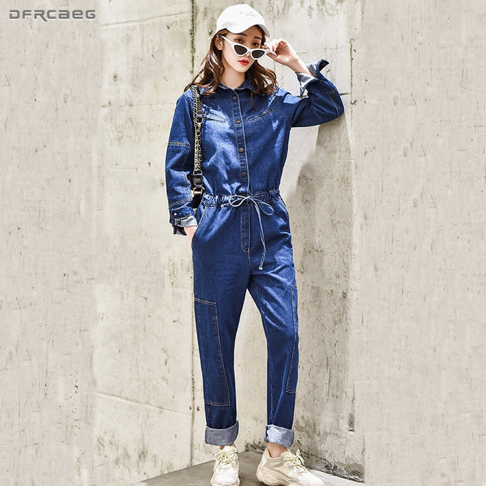 Blue BF Streetwear Denim Jumpsuit Pants For Women 2019 Spring Bodycon Long Sleeve High Waist Jeans Overalls Female Romper
