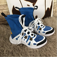 Blue Black Stretch Fabric With Leather Archlight Ultra Fashion Booties Chunky Heels Women Boots Sneakers For Women's
