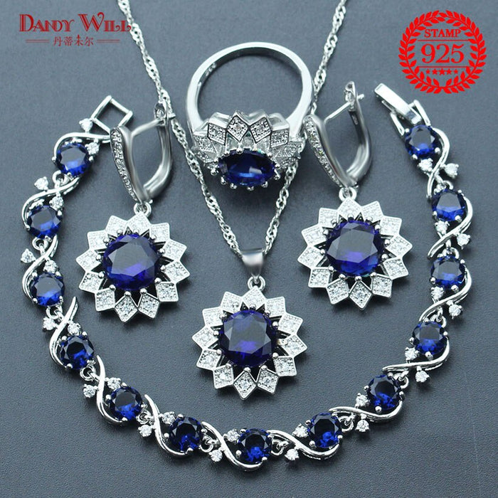 Blue Zircon 925 Sterling Silver Jewelry Sets Women Bracelets Earring With Stones Pendant&Necklace Rings Set Jewelery Gift Box