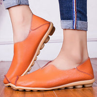 Boat shoes for women Large size 4.5-10.5 Genuine leather womens shoes Hard-wearing Soft Flat shoes ladies Spring