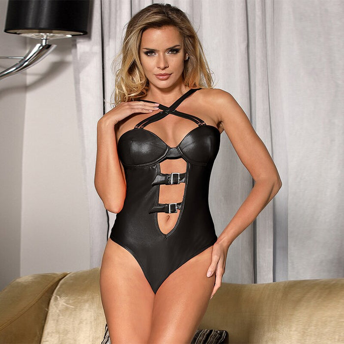 Bodysuit plus size women sexy lingerie leather teedy sexy underwear