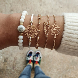 Bohemian Multilayer Bracelet Bangles Sets Natural Stone Round Beads Turkey Evil Eye Jewelry Gold stainless steel Chain For Women