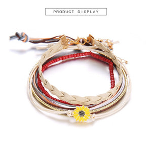 Bohemian Wax Rope Leather Sunflower Bracelets Set For Women Layered Woven Resin Stone Red Beads Summer Bracelet Vintage Jewelry