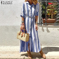 Bohmeian Striped Maxi Dress ZANZEA 2019 Women's Summer Sundress Female Long Sleeve Shirt Vestidos Plus Size Tunic Robe Femme 5XL