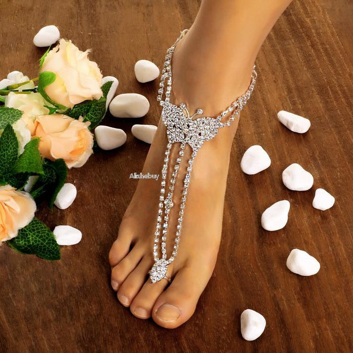Boho Anklet Foot Chain Ankle Summer Bracelet Charm Butterfly Anklet Tassel Sandals Barefoot Beach Foot Bridal Jewelry Gift