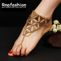 Boho Bridal Foot Beach Wedding Triangle Anklets Indian Jewelry Beach Foot Jewelry Barefoot Sandals Ankle Boots