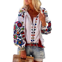 Boho Women Casual Shirt Floral Printed Blouses Autumn Fashion Embroidery