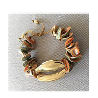 Boho puka shell bracelet wax rope bracelet 2019 christmas gifts for women tibetan jewelry natural gold shell statemen