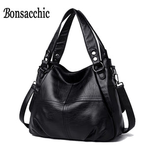 Bonsacchic Genuine Leather Hobo Bags Luxury Handbags Women Black Bags Designer Bolsa Feminina Couro Ladys Real Leather Bags Tote