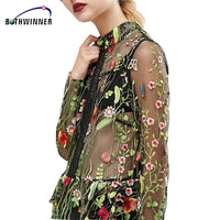 Women's Blouses Tops Flower Embroidered Mesh Top Summer