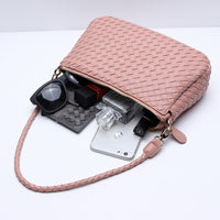 Botom New Arrival Pink Weave Shoulder Bag High Quality Pu Leather Women Handbags Ladies Across Body Handmade Weave Summer Bag