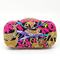 Boutique De FGG Rain Forest Jungle Women Crystal Animal Zoo Evening Bags Ladies Diamond Party Handbag Bridal Wedding Clutch Bag
