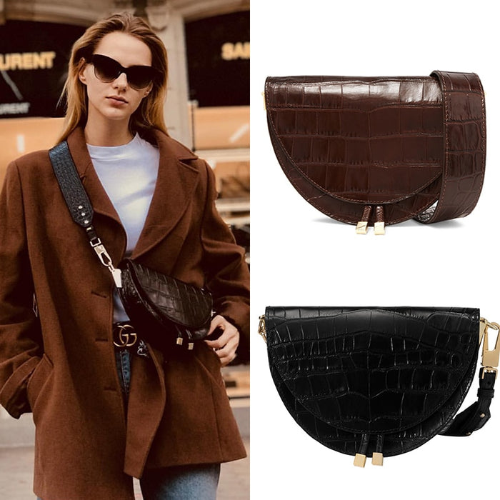 Brand 2019 Europe And The United States New Crocodile Wrapped Wide Shoulder Belt Slant Small Bag Semicircle Saddle Personality